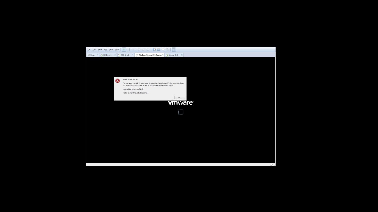 vmware error failed to lock the file cannot open the disk