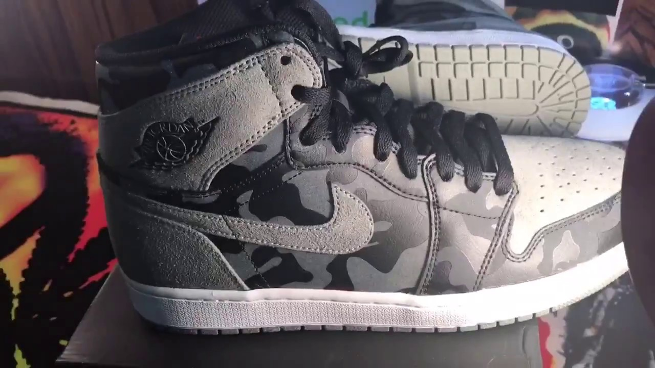 best website ffb14 2a0e0 Air Jordan 1 high Retro Premium Camo Pack Blk/grey(Reflective)$145 can used  coupon at footlocker