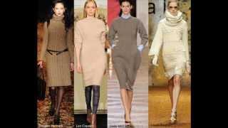 видео Девчата - Модное вязаное женское платье на спицах 2012 (описание модели и схема)