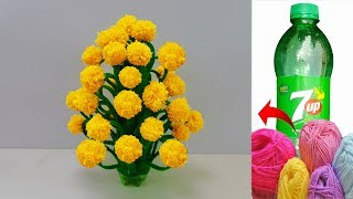 বোতল আর ওলের সুতা দিয়ে ফুলের টব || How to make Flower Vase with Wool