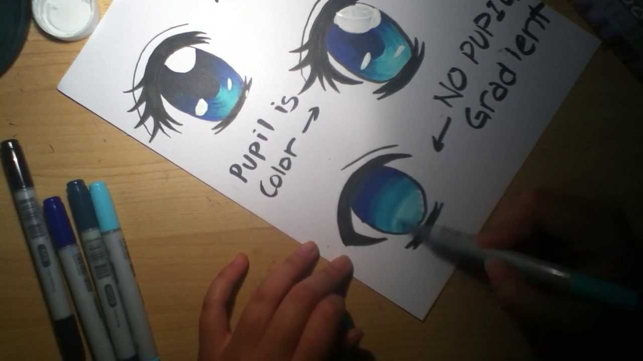 How To Color Manga Eyes With Copics YouTube