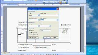 Word Creating a Fillable Form