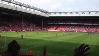 Liverpool Fc vs Bayer Leverkusen entering of players....