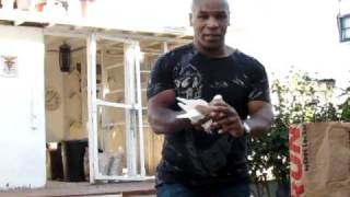 Mike Tyson with one of his birds at the Jersey City coop...