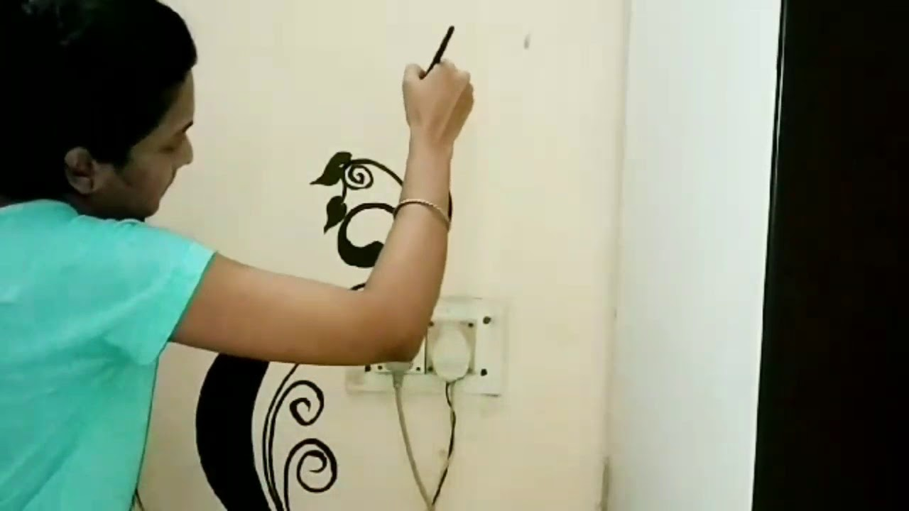 Easy Diy Homemade Wall Art Painting Wall Decoration Idea Wall Painting Using Acrylic Paint Youtube