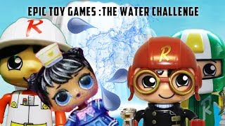 EPIC TOY GAMES WATER CHALLENGE FT RYAN'S WORLD TOY FIGURES AND LOL BUBBLY SURPRISE DOLL