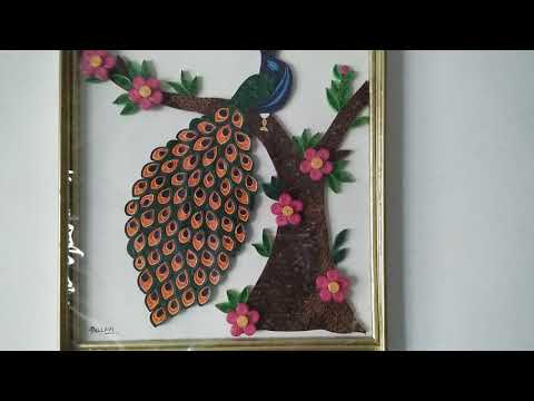 Paper quilling Peacock & Newspaper frame- My Art 😊