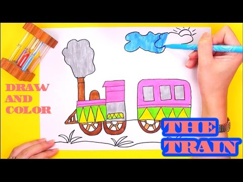 drawing and colouring the train by water colors learning colors and draw for kids - Drawing And Colouring
