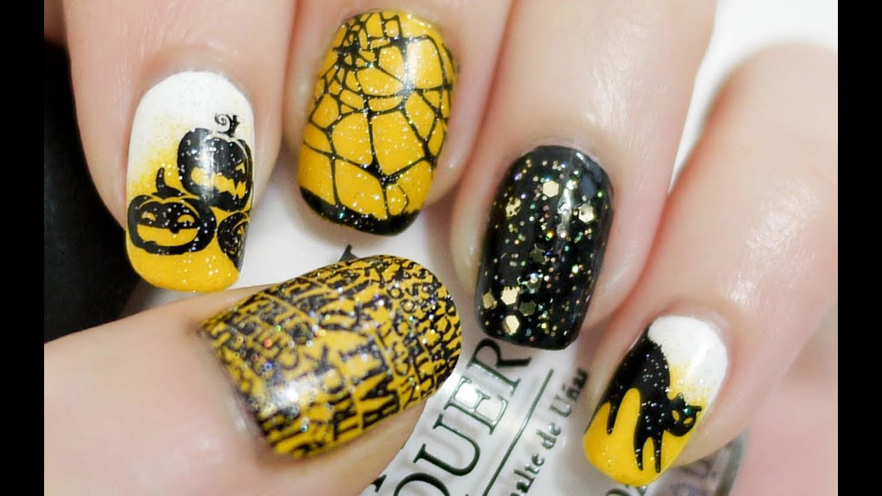 Halloween Nails Konad Stamping Youtube