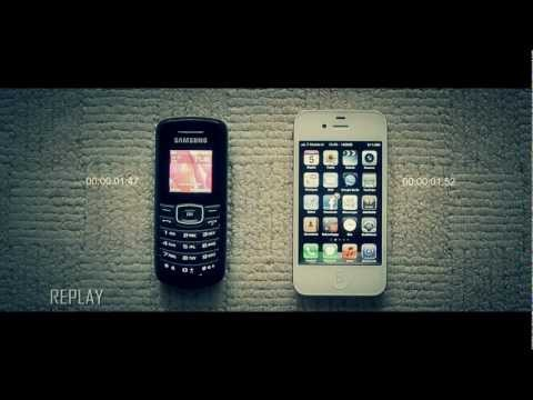 Samsung E1080 vs iPhone 4S Unlock Screen Speed Test