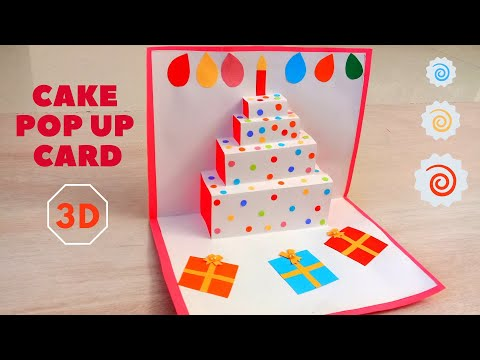 DIY Easy 3D Cake Pop Up Card | How to make Pop up Birthday Cards