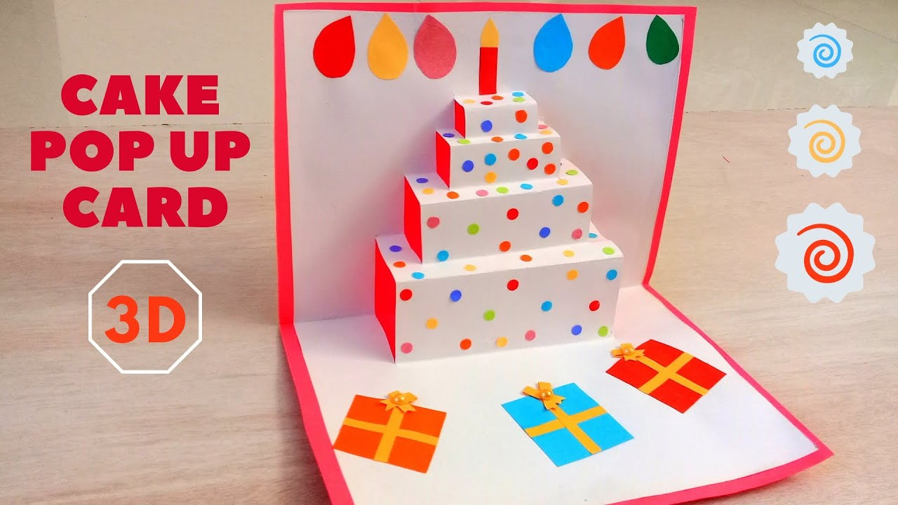 Diy Easy 3d Cake Pop Up Card How To Make Pop Up Birthday Cards Youtube