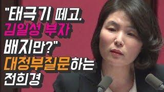 """""""태극기 떼고, 김일성 부자 배지만?"""" 대정부질문하는 전희경"""