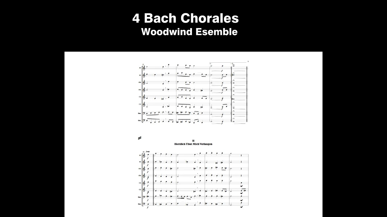 4 Bach Chorales For Woodwind Octect