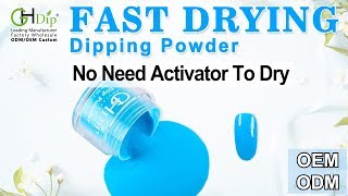 Blue Color Dip Nails art by Fast Drying Dip Powder System
