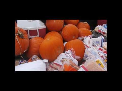Pumpkins, grains, and bread for feeding livestock