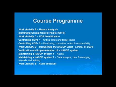 Level 3 HACCP e-learning - training course content