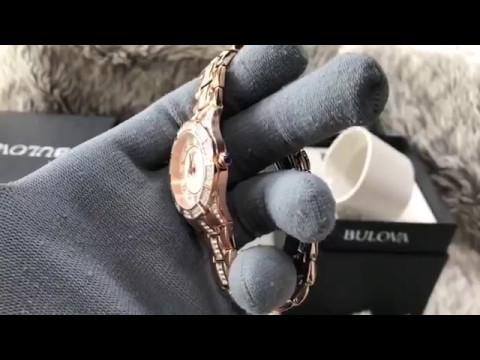 8ff1dc1ac (Review Đồng Hồ]) Bulova Women's 98L197 Swarovski Crystal Rose Gold Tone  Bracelet Watch Case 31mm