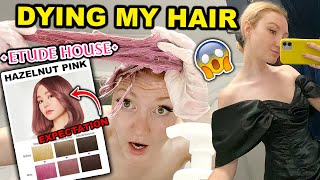 DYING MY HAIR HAZELNUT PINK & THRIFT SHOPPING TRY ON HAUL!! ETUDE HOUSE HAIR MAKEOVER 2021