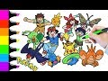 Pokemon Coloring Ash Brock Mae and Pokemon Friends