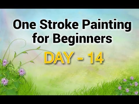 One Stroke Painting for Beginners - Day 14 | Flower Technique