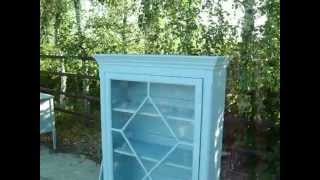 Vintage Painted Shabby Chic Glazed Display Cupboard Duck Egg