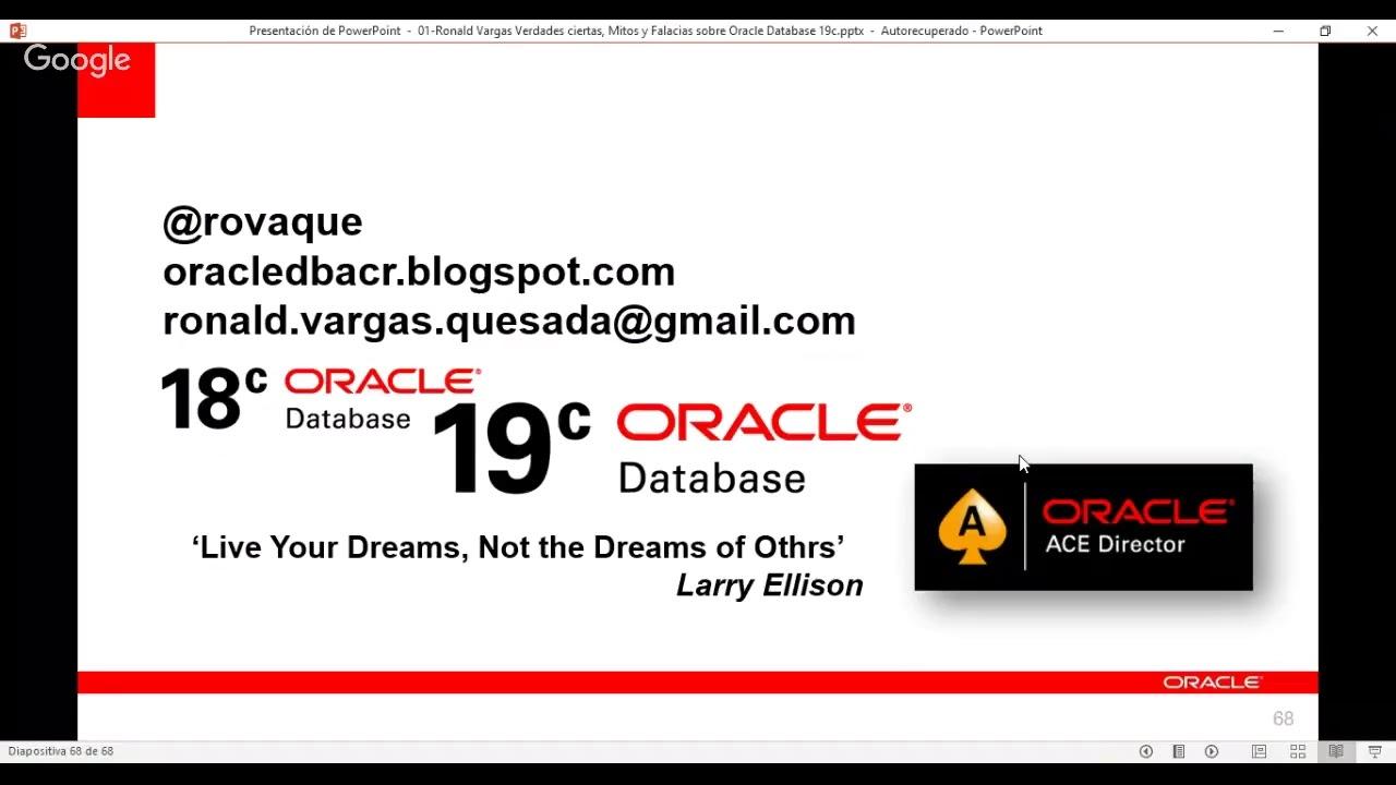 Oracledbacr, por simple pasión    -Copyleft Miembro
