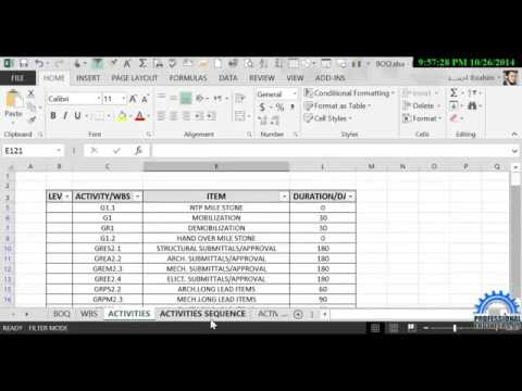 PART 10,import export from primavera excel  Activities and resources