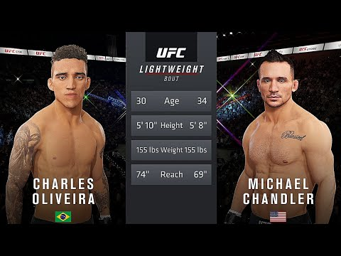 Charles Oliveira Vs. Michael Chandler : UFC 4 Gameplay (Legendary Difficulty) (AI Vs AI) (PS4)