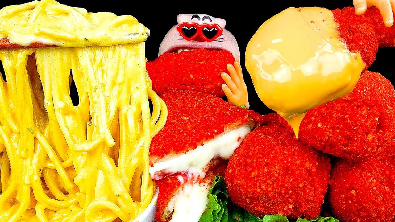 ASMR MUKBANG :) Cheetos Chicken & Pork Cutlet & Cheddar Cheese Pasta RealMouth EATING SHOW!