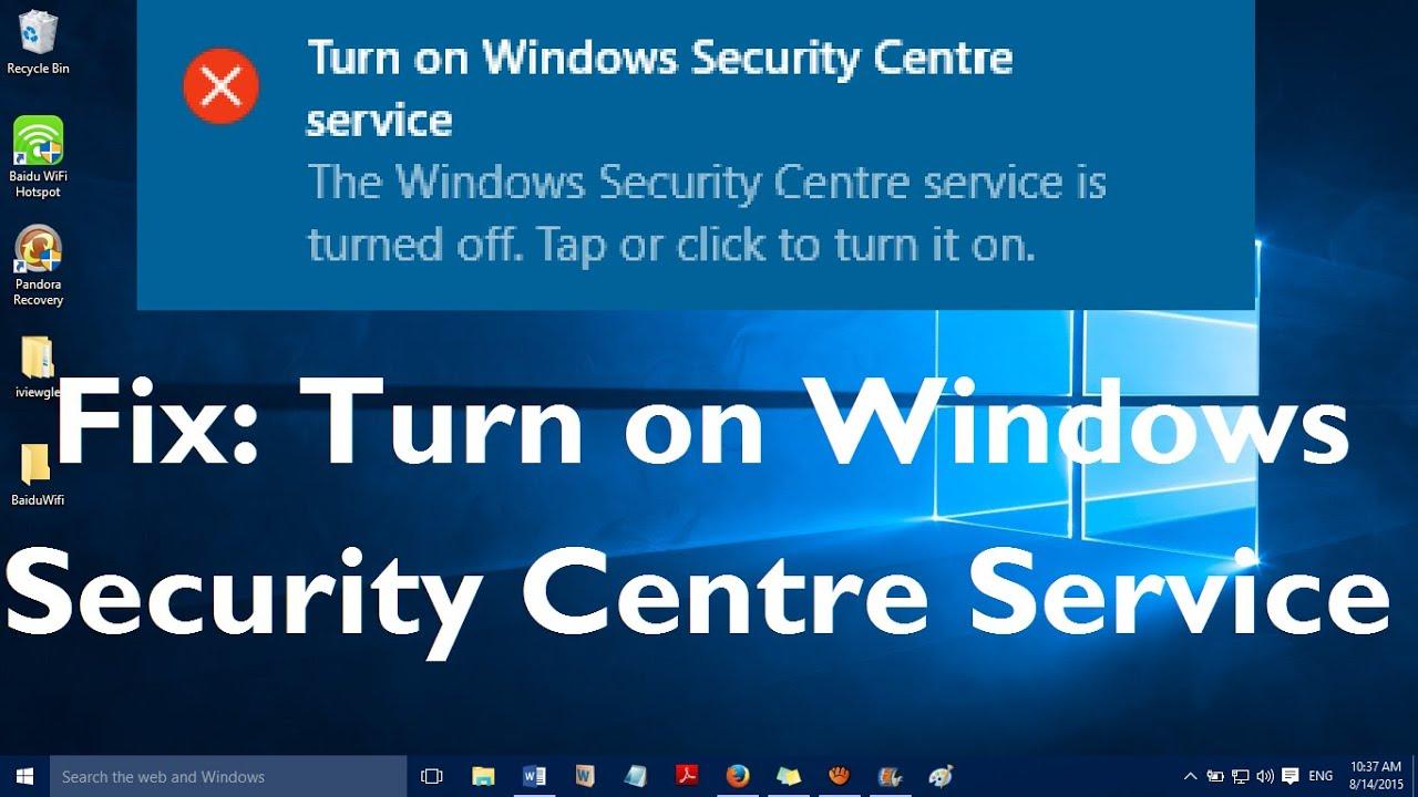 Windows security center service