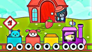 Мультики про Паровозики. Маленькие Котята катаются на Поезде. Развивающий мультик для малышей