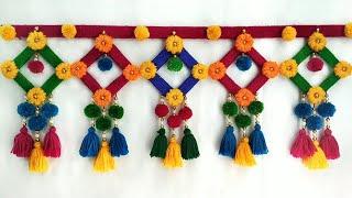 DIY Woolen Door Toran | Home Decor Idea Out Of Wool and Ice Cream Sticks