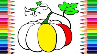 Vegetable Coloring Pages. How to Draw  vegetables, carrots and pumpkin for children. Coloring baby