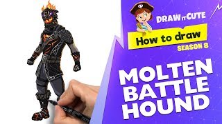 How to draw Molten Battle Hound | Fortnite Season 8 tutorial