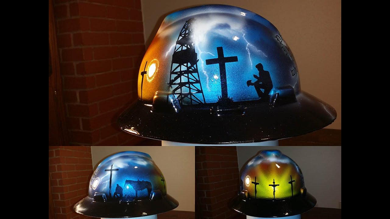 custom painted christian oilfield praying roughneck hard hat - YouTube