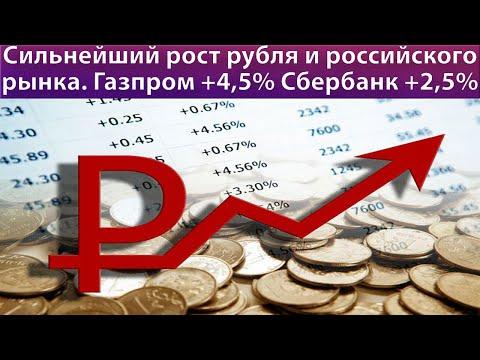 Сильный рост рубля и российского рынка // Прогноз курса доллара евро ртс // Акции Газпрома Сбербанка