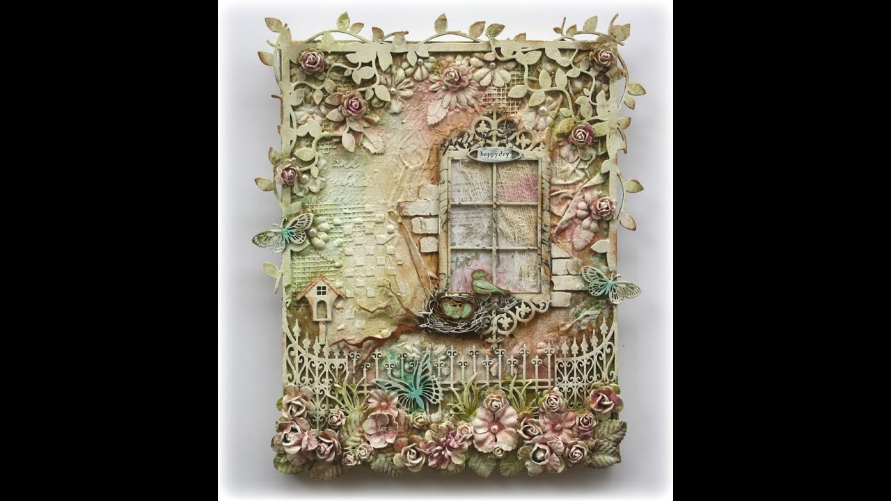 Mixed media canvas happy day youtube for 3d canvas ideas