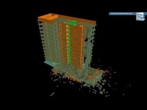 INACHUS - Structural analysis of an Office tower, Explosion scenario, Location 3