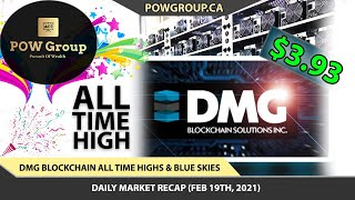 DMG Blockchain NEW ALL TIME HIGH! | DMGI Stock Blue Sky Breakout | Stock Market Review FEB 19TH 2021