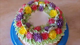 Очень ВКУСНЫЙ торт Рецепт БИСКВИТНОГО торта с БЕЗЕ Крем из МАНКИ и МАСЛА Летний торт Cake decoration