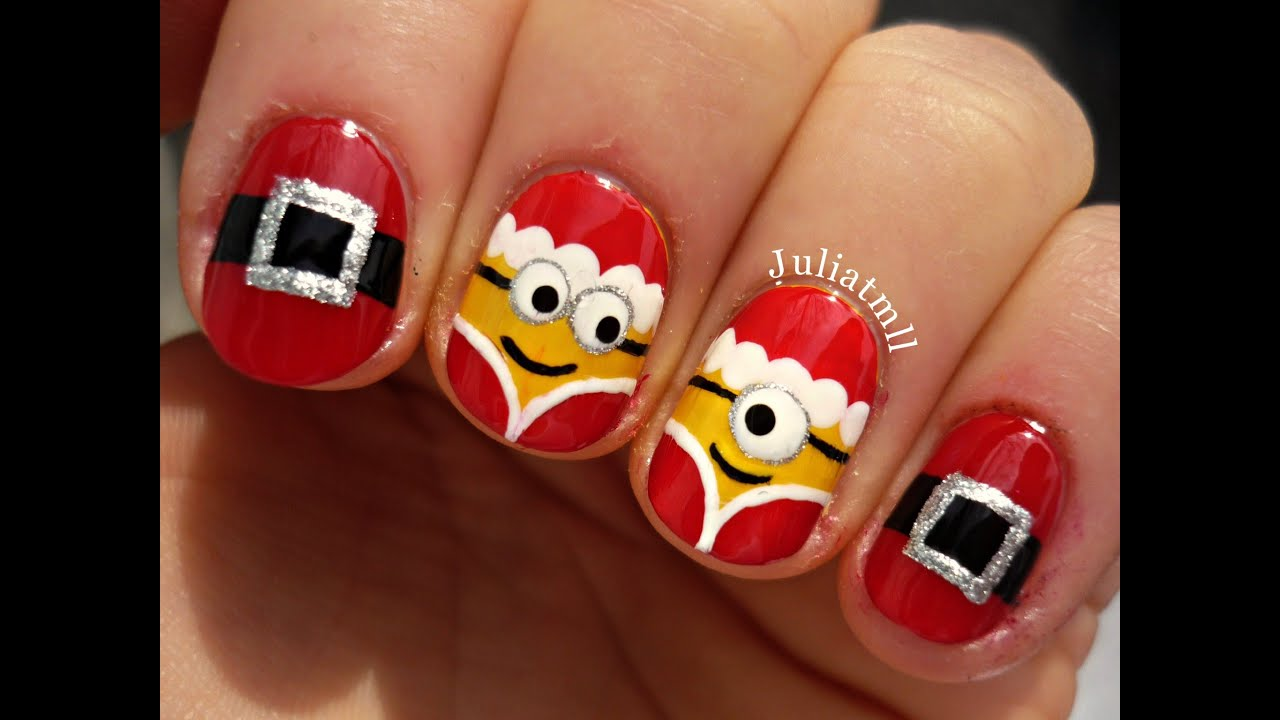 Christmas minion nails - YouTube