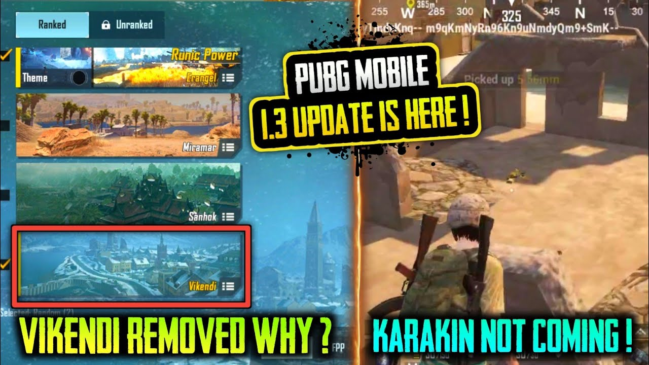 🔥NEW 1.3.0 UPDATE PUBG MOBILE ! WHY VIKENDI MAP REMOVED FROM PUBG MOBILE ? PUBG NEW UPDATE