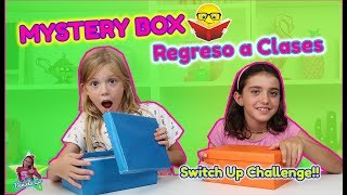 MYSTERY BOX OF BACK TO SCHOOL SWITCH UP CHALLENGE!! CAMBIO CAJAS MISTERIOSAS CON ÚTILES ESCOLARES!!