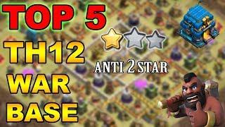 TOP 5 TH12 WAR BASE 2018 Anti 2 Star With +9 Replays Anti Bowler Miner,E-Dragon,Anti Queen Walk |Coc