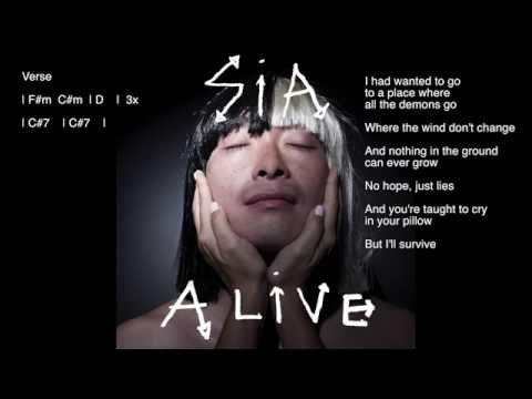 Sia - Alive (Chords + Lyrics) Piano Karaoke