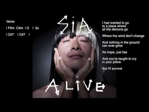 Sia - Alive (Chords + Lyrics) Piano Karaoke