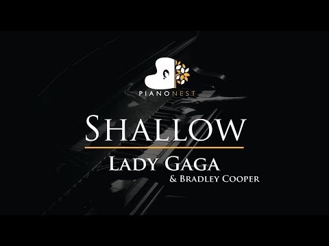 Lady Gaga Bradley Cooper - Shallow - Piano Karaoke  Sing Along Cover with