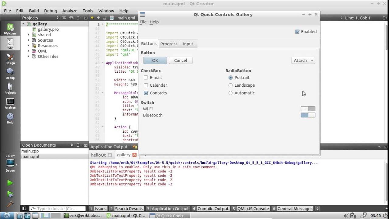 Qteveloper: Qt Creator Examples - Qt Quick Controls Gallery
