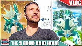 SO DONE WITH DIALGA - 5 HOUR RAID HOUR - SHINY & LUCKY TRADE   Pokémon GO Vlog
